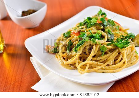 Spaghetti With Porcini Mushrooms And Zucchini
