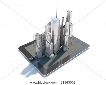 Tablet PC with the city isolated on white background. 3d illustration.