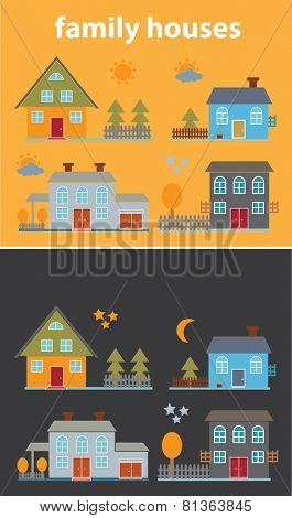 family houses, buildings, village icons, signs, illustrations set, vector
