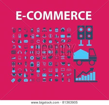 e-commerce, retail, store, shop icons, signs, illustrations set, vector