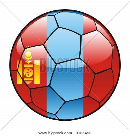 Mongolia flag on soccer ball