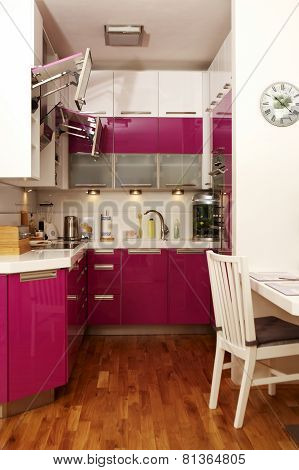 View Into The Pink Kitchen