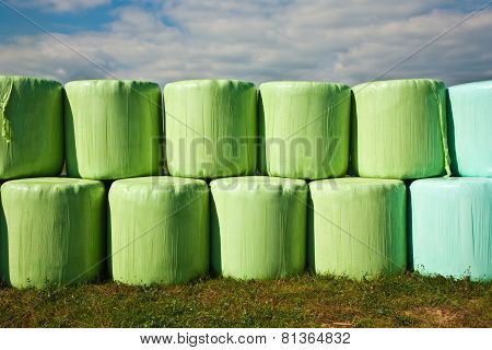 Bale Of Straw Infold In Plastic Film (foil) To Keep Dry In Automn In Intensive Colors