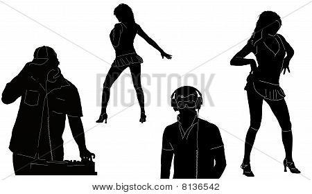 DJ's and dancers's figures
