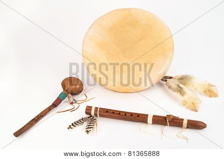Native American Drum, Flute and Shaker.