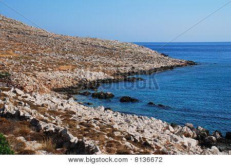 Rocky coastline, Halki island