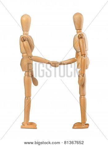 Wooden Dummies Shake Hands