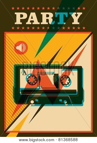 Party poster with compact cassette. Vector illustration.