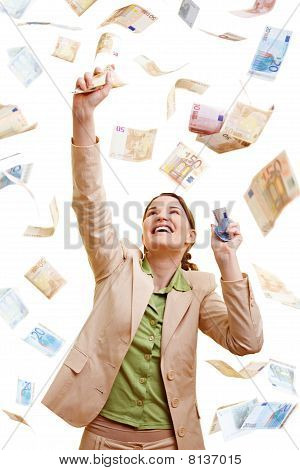 Businesswoman Catching Euro Banknotes