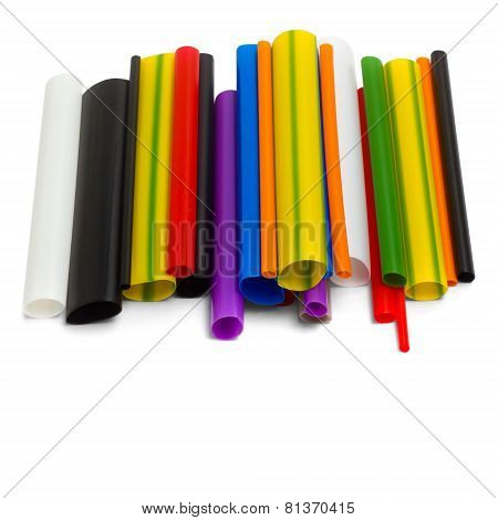 bright colored plastic tubes isolated on white background
