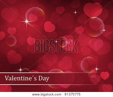 Valentines Day vector background with hearts, stars and bubbles