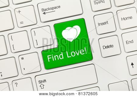 White Conceptual Keyboard - Find Love (green Key)