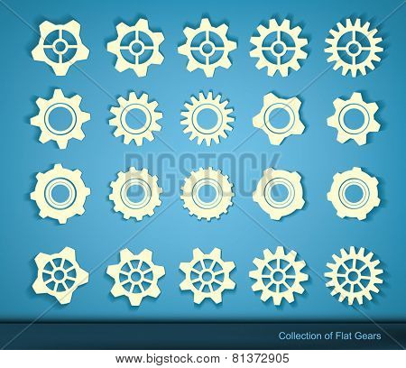 set of flat gears, cogs, wheel symbols