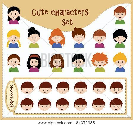 cute character set with various expressions usable for each character