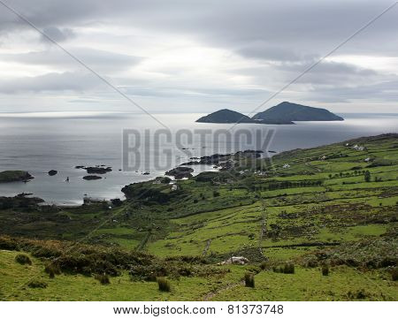 Gloomy Seascape In County Kerry - Retro Photo.