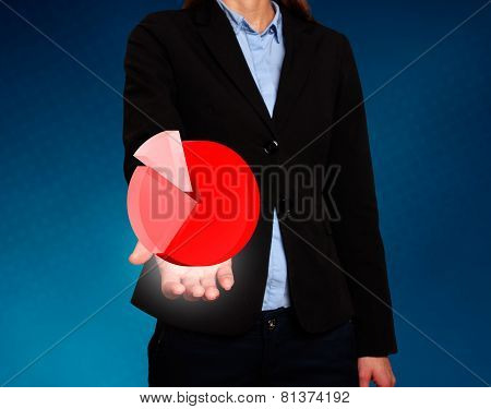Businesswoman showing Chart. Success Work- Stock Image