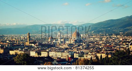 Florence Cathedral Vintage Effect. City View And Firenze Duomo.