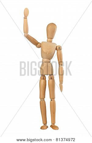 Wooden Dummy Man Waving Hello