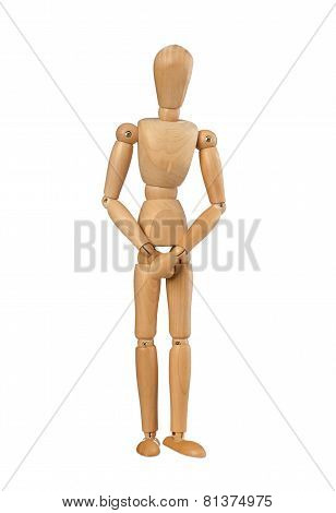Wooden Dummy Covers His Private Parts With His Hands.