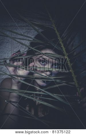 Halloween, Sensual young girl hidden behind the branches of a tree
