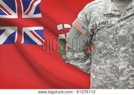 American Soldier With Canadian Province Flag On Background - Manitoba