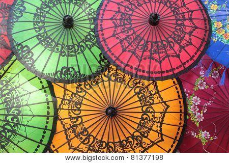 Colored Burmese Umbrellas