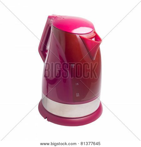 Electric kettle isolated red white background