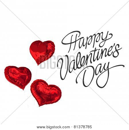 Happy valentines day against love heart balloons
