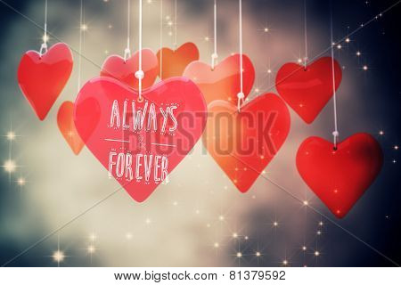 always and forever against valentines heart design