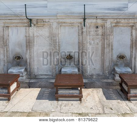 Front view of fountains for ritual ablution
