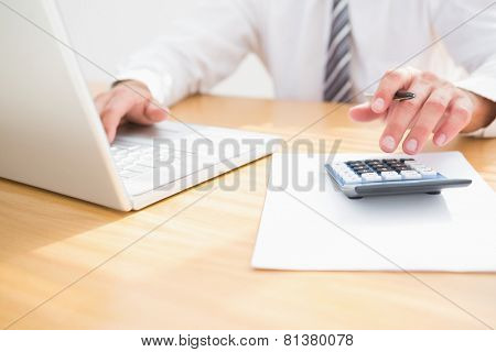 Businessman using his laptop in his office