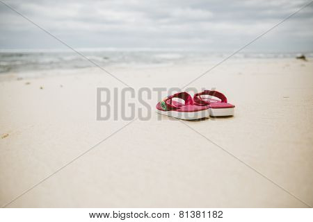 Flipflops on beach, Bali, Indonesia