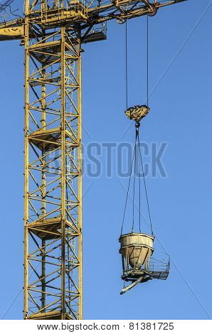 crane with a suspended load