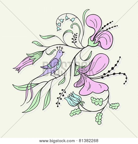 Floral and bird. vector illustration