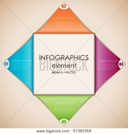 Vector illustration of abstract infographics. Square cut diagonally and disclosed.