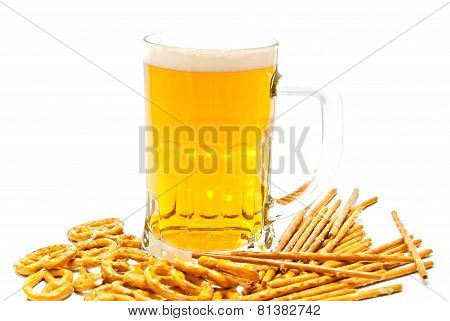 Breadsticks, Pretzels And Light Beer