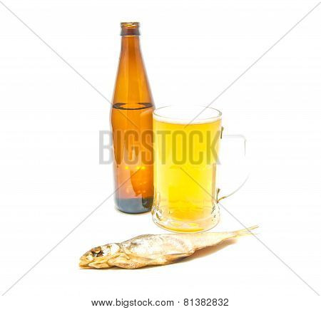 Glass Of Light Beer And Stockfish Closeup