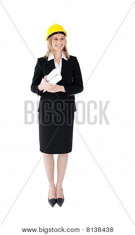 Self-assured Businesswoman Wearing A Helmet