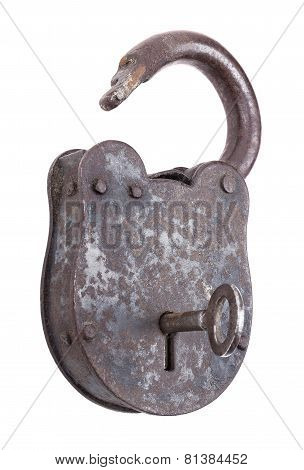Unlocked Medieval Padlock With Key