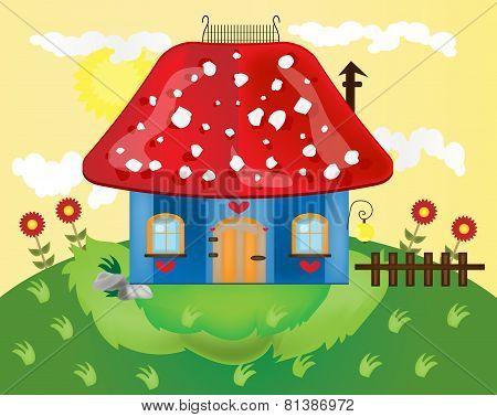 Funny cartoon of mushroom