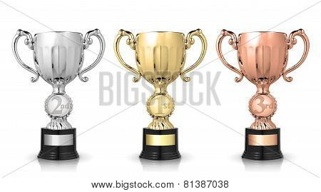 Award Trophies Isolated On White