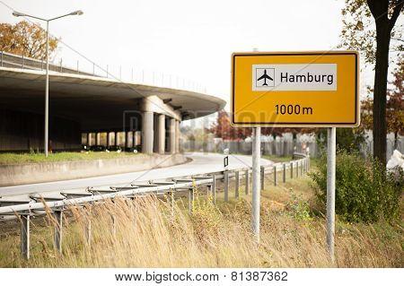Road direction sign Hamburg airport