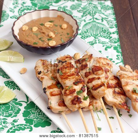 Chicken kebabs with mushroom sauce