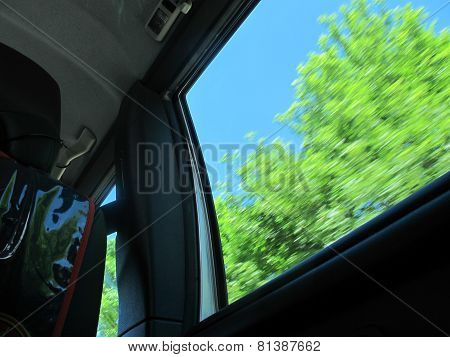 Childs View Out Of A Driving Car
