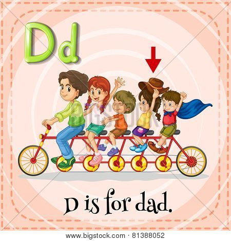 Illustration of a letter D is dad