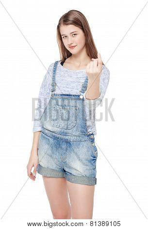 Young Teenage Girl With Beckoning Gesture Isolated