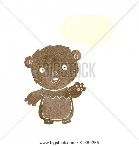 cartoon worried teddy bear with speech bubble