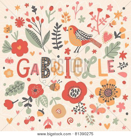 Bright card with beautiful name Gabrielle in poppy flowers, bees and butterflies. Awesome female name design in bright colors. Tremendous vector background for fabulous designs