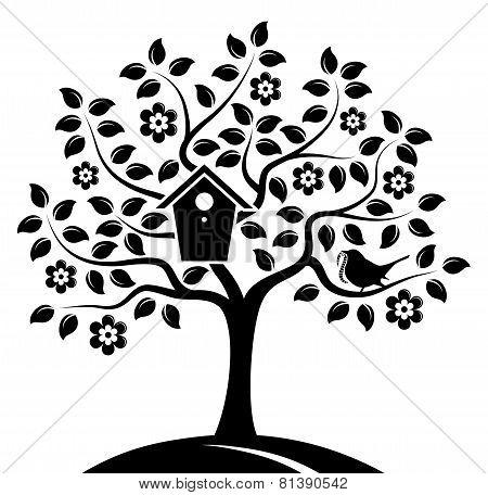Flowering Tree And Bird