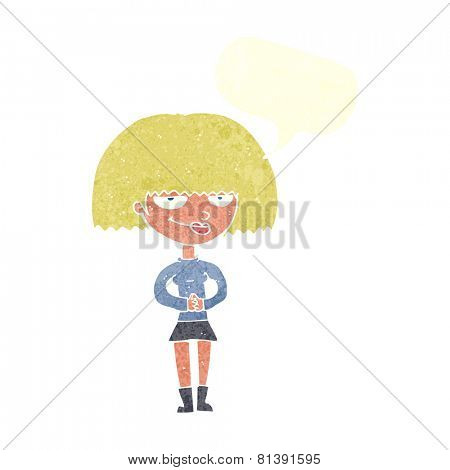cartoon sly woman with speech bubble
